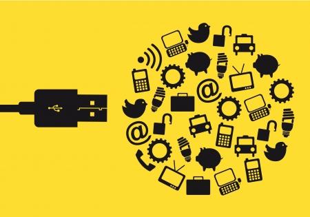 overdracht: usb met pictogrammen op gele achtergrond. vector illustratie