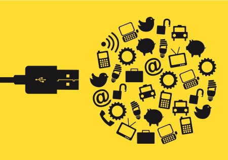 computer memory: usb with icons over yellow background. vector illustration