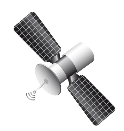telecomunicaci�n: por sat�lite aislado sobre fondo blanco. ilustraci�n vectorial