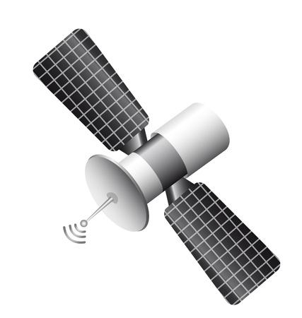satelliet geïsoleerd op witte achtergrond. vector illustratie