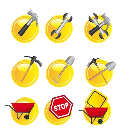 yellow construction signs over white background. vector Stock Vector - 14082086