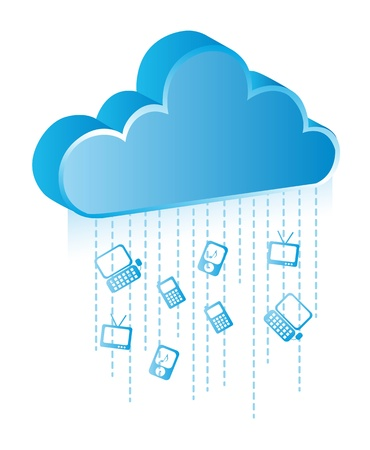 cloud communication with blue icons. vector illustration Stock Vector - 14082055