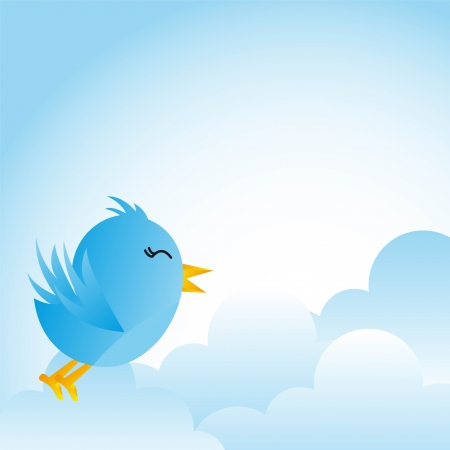 cute blue bird with clouds over blue background. vector Vector