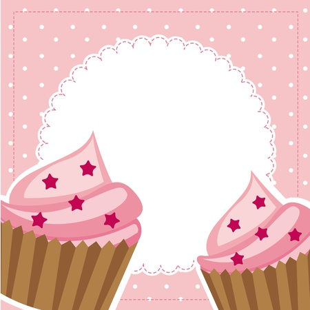 pink cup cakes with space for copy. vector illustration Vector