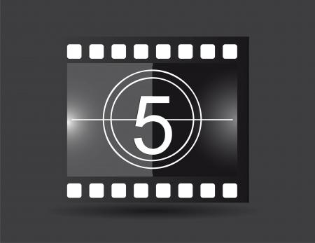 photo artistique: bande de film avec num�ro cinq, couleur noire. illustration vectorielle