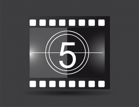 film strip with five number, black color. vector illustration Vector