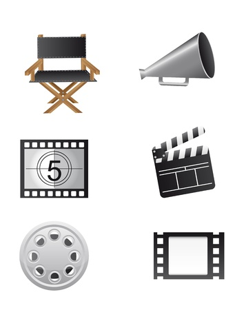 cinema elements isolated over white background. vector Vector