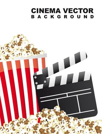theatre audience: pop corn with clapper board, cinema. vector illustration