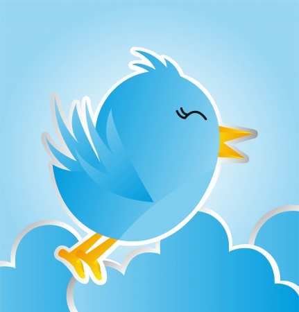 blue bird with clouds over blue background. vector illustration Vector
