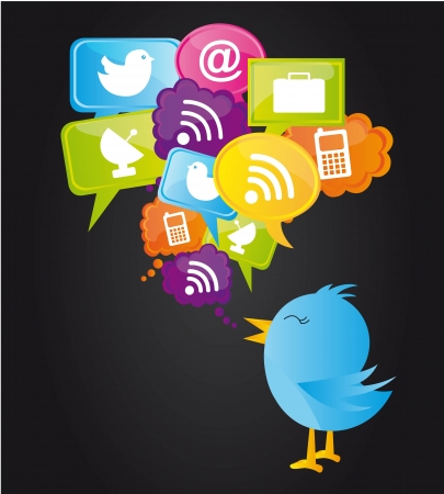 chat up: social network with blue bird.. vector illustration
