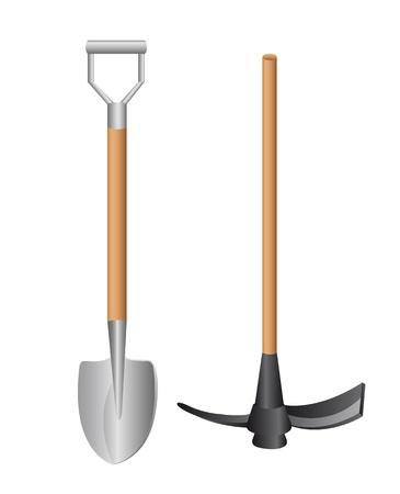 łopata i narzędzia samodzielnie na białym tle. ilustracji wektorowych