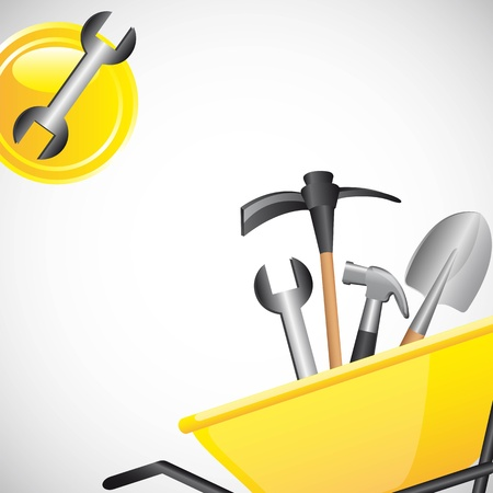tools over wheelbarrow with icons. vector illustration Vector