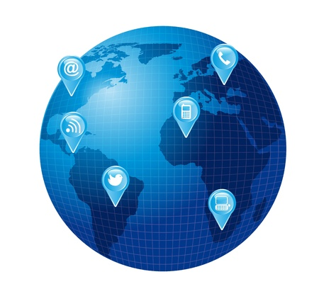 world with blue communication icons. vector illustration Stock Vector - 14082093