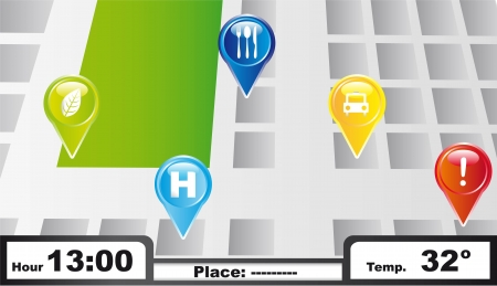 gps with colorful icons background. vector illustration Vector