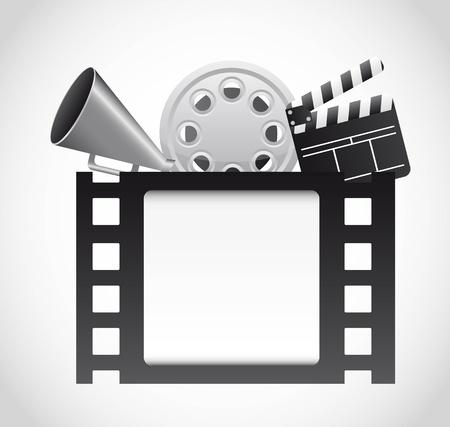 предмет коллекционирования: кинопленка с элементами кино на сером фоне. вектор Иллюстрация