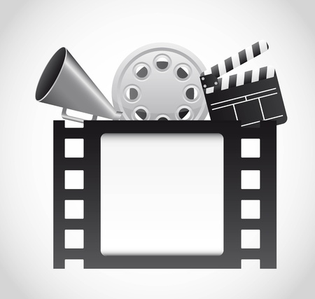 movie clapper: film strip with cinema elements over gray background. vector