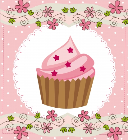 layout strawberry: pink card with cup cake background. vector illustration