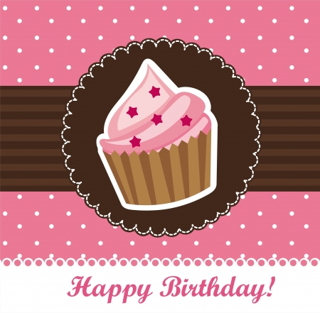 dessert muffin: birthday card with cup cake. vector illustration Illustration