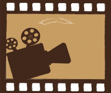 grunge movie projector over film strip. vector illustration Vector