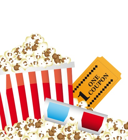 pop corn with 3d glasses and ticket. vector illustration Stock Vector - 14074404