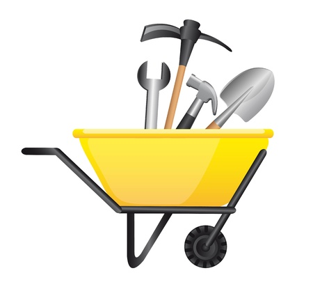 tools over wheelbarrow  isolated over white background. vector Vector