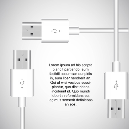 white usb with space for copy. vector  illustration Vector
