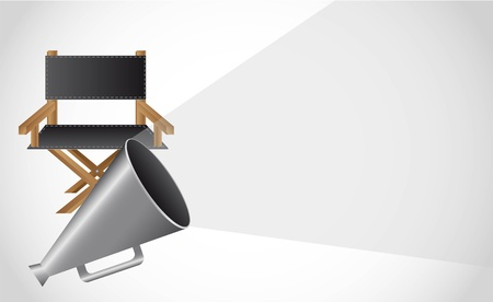 director chair with megaphone with space for copy. vector Vector