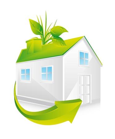 icono contaminacion: Casa verde con hojas y flechas