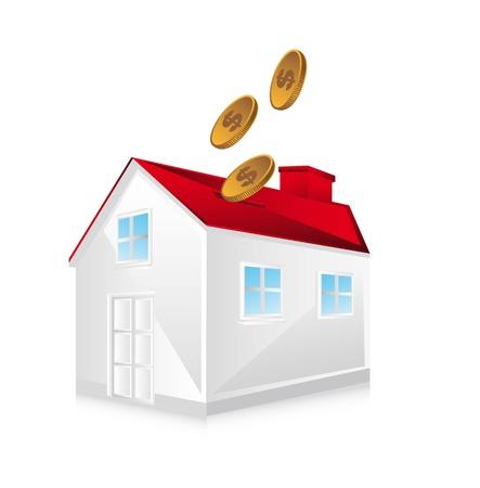 personal banking: casa di piggy su sfondo bianco