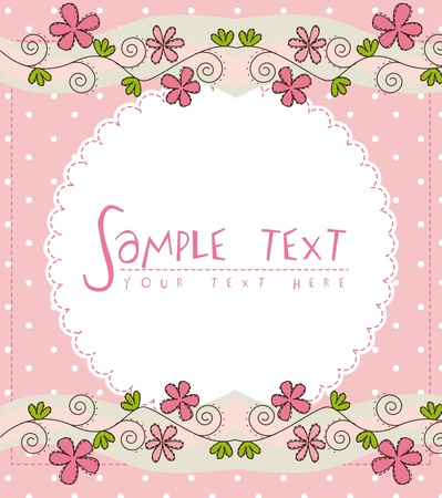 pink cute card with flower over pink background Vector