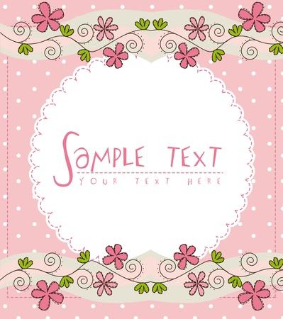 cute wallpaper: tarjeta rosada linda con flor sobre fondo de color rosa Vectores