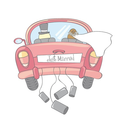 honeymoon: just married car isolated, vintage Illustration
