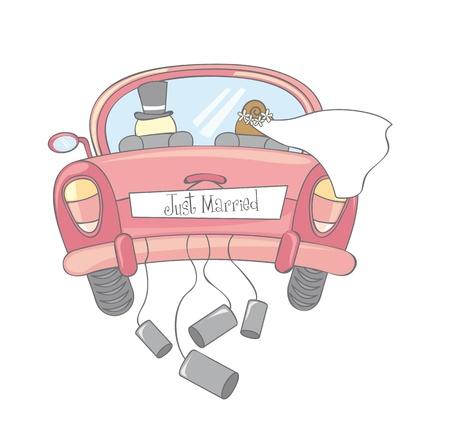 femme mari�e: voiture vient de se marier isol�, vintage Illustration