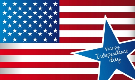 happy independence day with flag and star, united states Vector