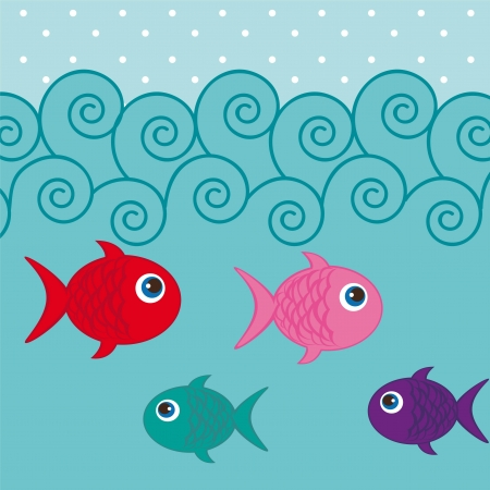 cute fishes into sea background Vector