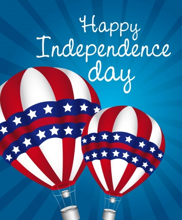independence day with hot air balloons Vector