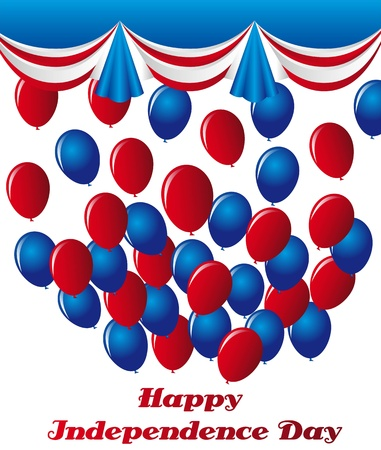 blue and red balloons over white background Vector