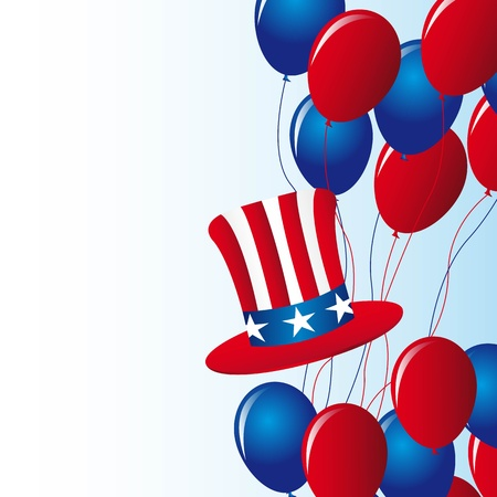 july 4th: independence day with balloons with hat