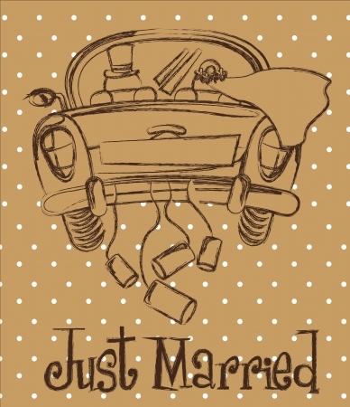 matrimony: just married car over brown background, grunge Illustration
