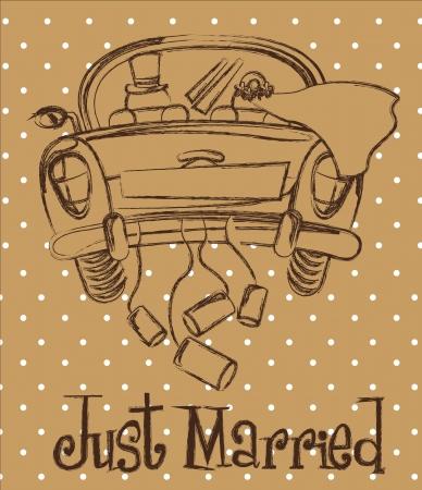 recien casados: simplemente se cas� con coche sobre fondo marr�n, grunge Vectores