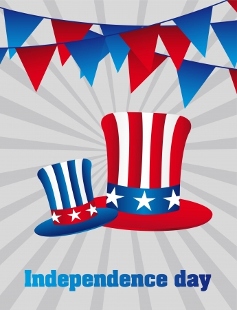 festoons: independence day with hats over gray background. vector