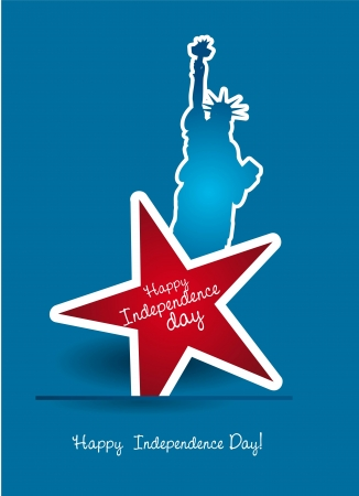 statue of liberty: independence day with statue liberty and star illustration