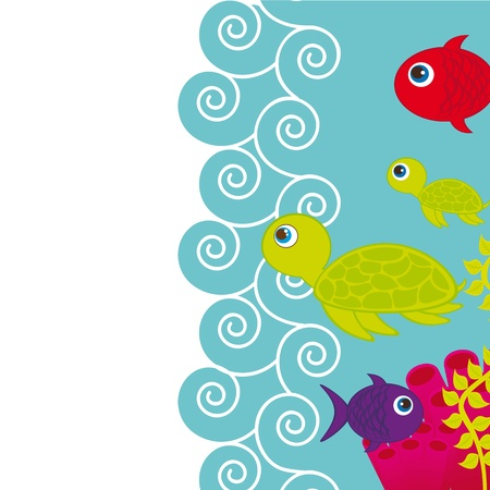 cute fishes and turtle into sea with space for copy Vector