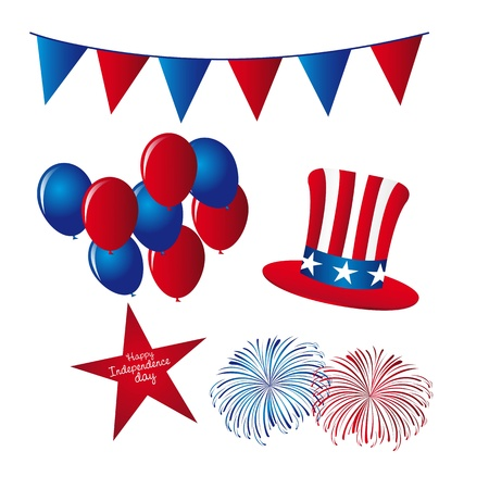 festoons: hat with balloons and fireworks, independence day elements. Illustration
