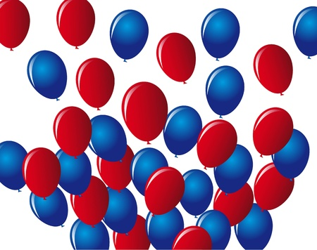 4 the july: blue and red balloons over white background