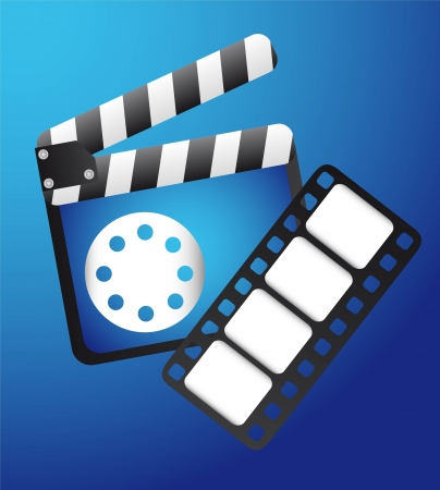 collectible: clapper board with film strip over blue background Illustration