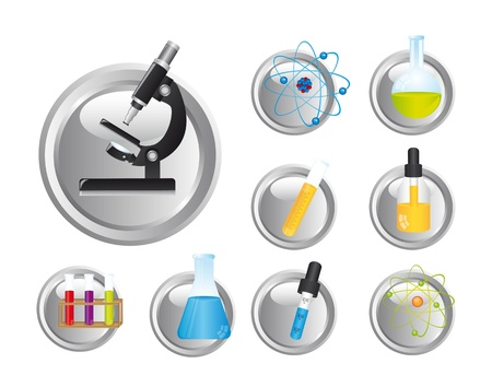 pharmaceuticals: chemical icons over white background Illustration