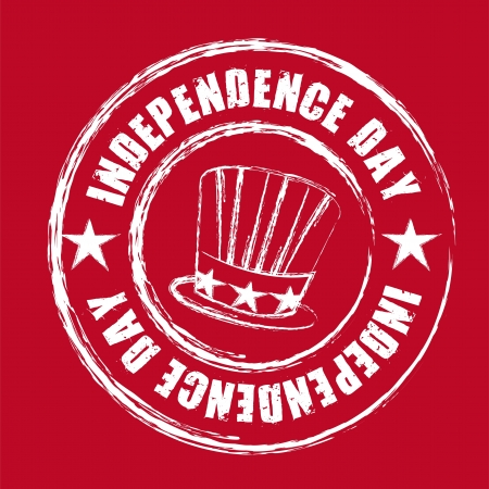 independence day seal over red background Vector