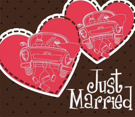 just married with cars and heart card Vector