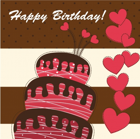 beauty birthday: happy birthday card with cake and hearts. vector illustration